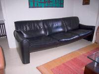 Fabulous Italian Designer Black Leather Sofa - made by Marac