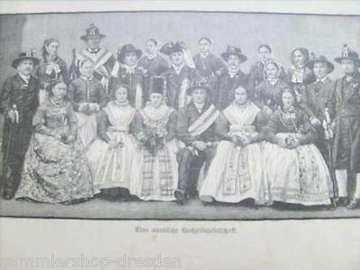 12729 WENDEN Eine Wendische Hochzeitsgesellschaft Holzstich 1891