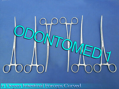 6 Doyen Intestinal Forceps Curved Surgical Medical Instruments