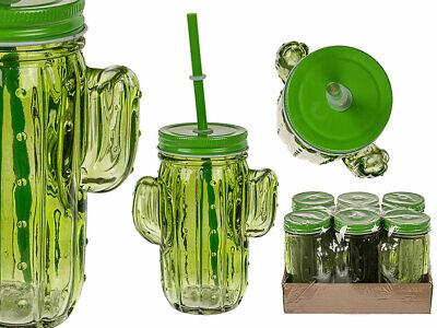 6x Trinkglas Kaktus Einmachglas mit Griffen Marmeladenglas Glas Sommer Picknick