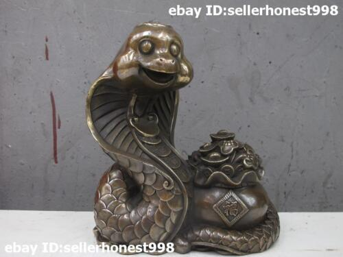 "7"" China old Bronze Copper FengShui Attract yuanbao Zodiac Snake Statue"