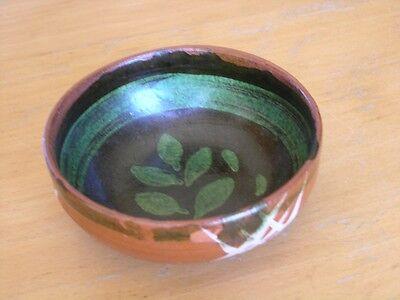 Antique Mexican Terracotta Redware Green Glazed White slipware Pottery Bowl