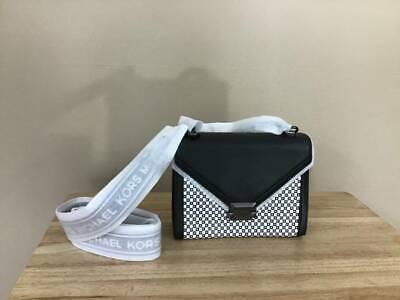 Michael Kors Whitney Large Checkered Leather Shoulder Bag Black White Gunmetal