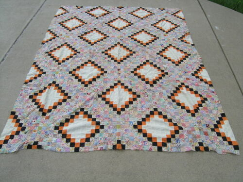 """Vintage American Hand Quilted Irish Chain Quilt Top 1.25"""" Postage Stamp Squares"""