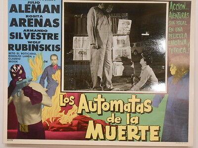 Los Automatas De La Muerte Black Masked Wrestler Horror Lobby Card Poster1962 #2