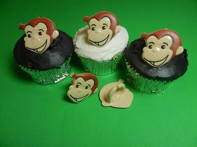 12 Curious George Rings Cupcake Toppers Cake Pop Decorations Party Favors - Curious George Party Decorations
