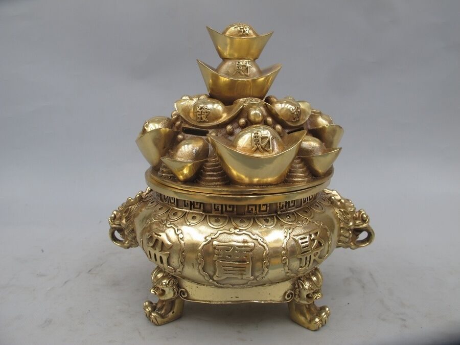 China Pure Brass Copper Wealth Yuan Bao treasure bowl Lion Incense Burner