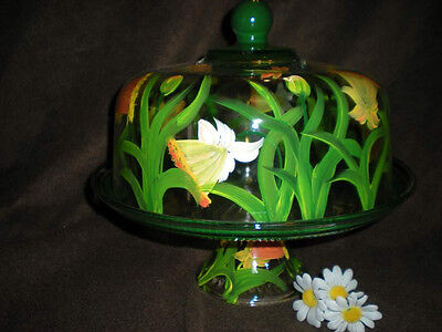 Cake Plate Punch Bowl (HANDPAINTED DAFFODIL  CAKE PLATE/PUNCH BOWL(MADE IN THE USA) )