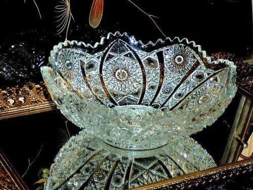 EXCEPTIONAL ANTIQUE AMERICAN BRILLIANT PERIOD PRESSED  GLASS BOWL.