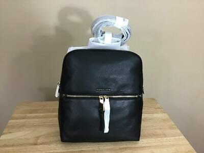 Michael Kors Rhea Zip Medium Pebbled Leather Slim Backpack Black Gold $258 NWT Gold Pebbled Leather