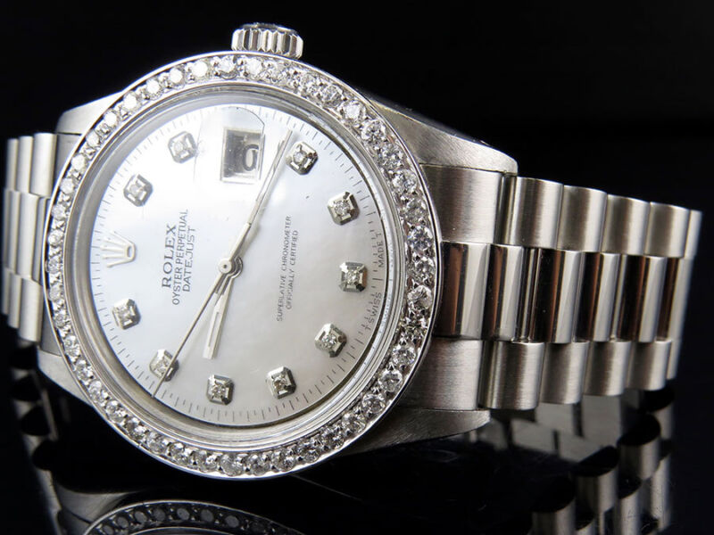 Mens Stainless Steel Rolex Datejust Presidential 36mm Mop Diamond Watch 2.5 Ct
