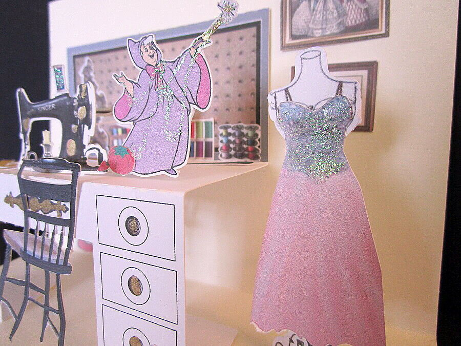 Cinderella Sewing Room Pop-Up Card - $7.89
