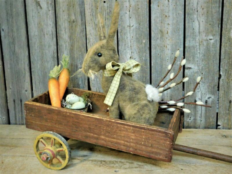 Primitive Old Wood Toy Wagon Full w/ Bunny Rabbit Doll Spring Decor