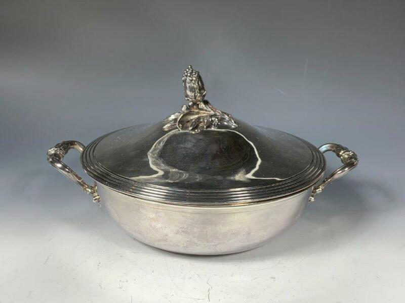 Antique c.1870s CHRISTOFLE French Silverplate Vegetable Serving Tureen Dish