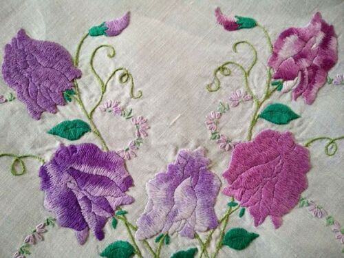 Charming Pink/purple Sweetpeas  Vintage Hand Embroidered Tablecloth
