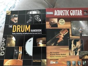 Music books guitar and drums make an offer