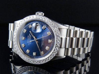 Mens Stainless Steel Rolex Datejust Blue Presidential 36MM Diamond Watch 2.5 Ct