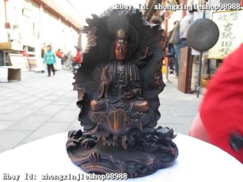 Chinese exquisite Red Bronze carve South Sea Kwan-Yin Bodhisattva Buddha Statue