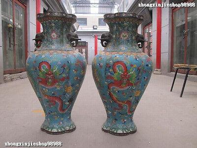 Chinese 100% Bronze cloisonne Enamel Two Dragon Elephant Ears Zun Vase Pair