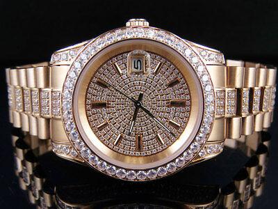 Mens 18K Rose Gold Steel Simulated Diamond Presidential Watch 41MM PR-01