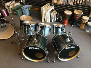 Tama Superstar Birch Dark Grey Shell Kit 10-12-13-14-16ft-22-22 Gris foncé - usagé-used