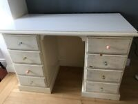 Sturdy Pine Dressing Table / Desk with drawers for upcycling