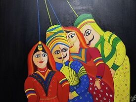 Rajasthan puppet Oil painting for sale