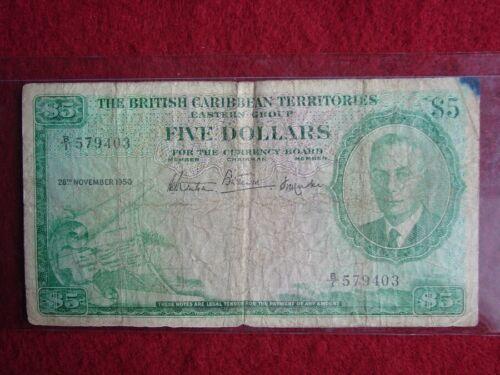 British Caribbean Territories Five 5 Dollars 28 Nov 1950 P-3