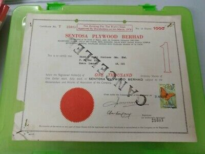Malaysia 1978 Sentosa Plywood Berhad Share Certificate T25093 butterfly stamp