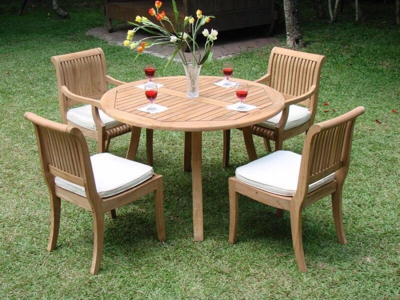 "5-piece Outdoor Teak Patio Dining Set: 52"" Round Table, 4 Armarmless Chairs Giva"