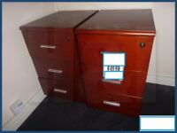 Pair of nice cherry wood effect desk pedestal units