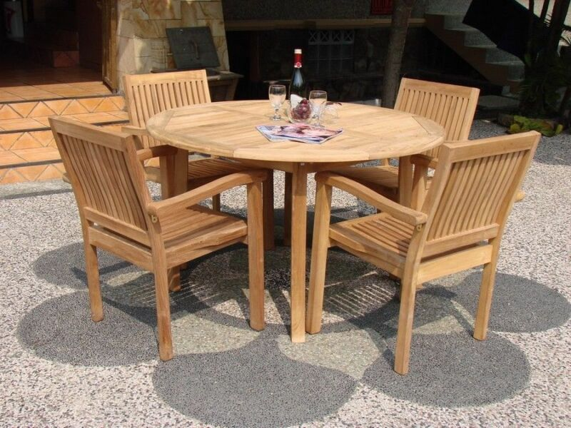 "5-piece Outdoor Teak Dining Set: 52"" Round Table, 4 Stacking Arm Chairs Leve"