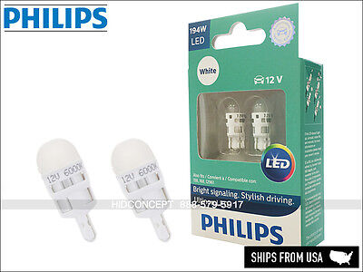 194 T10 PHILIPS ULTINON Reverse Backing LED Bulbs WHITE 194ULWX2 (Pack of 2)