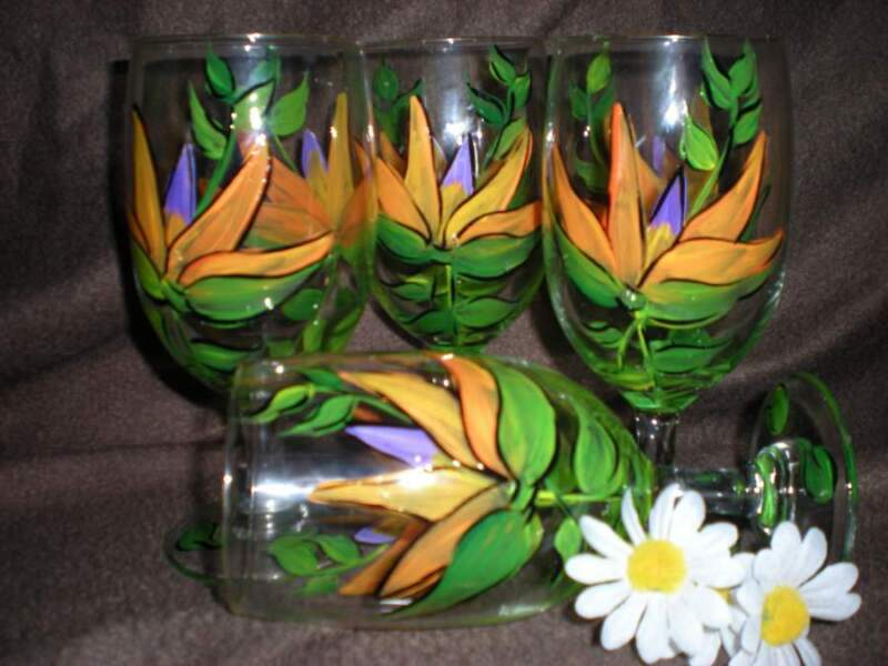 HAND PAINTED BIRDS OF PARADISE ICE TEAS / SET OF 4(MADE IN THE USA)
