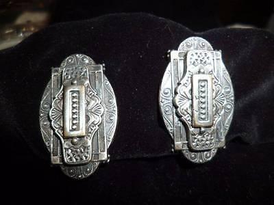 Antique Edwardian Art Deco Era Silver Taille d'Épargne Vintage Earrings