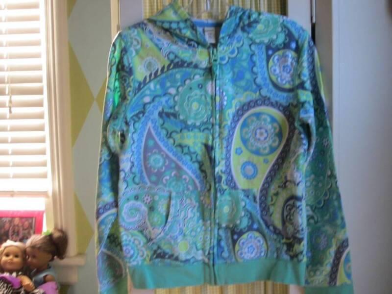 OLD NAVY girls medallion printed hooded zip up sweatshirt Sz 14