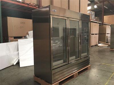 80 Commercial Three Glass Door Merchandiser Refrigerator Nsf Cooler Depot New