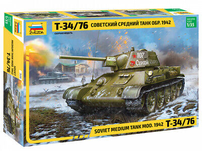 Zvezda 3686 T-34/76 Mod.1942 M1:35 unlackierter Bausatz Panzer