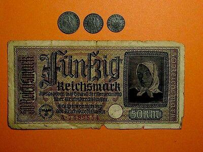 Nazi Germany Third Reich 1;5;10 Reichspfenning & 50 Reichsmark Swastika1941-1944