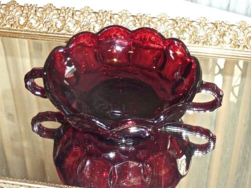 COLLECTABLE VINTAGE RUBY RED GLASS NAPPY DISH WITH 2 HANDLES FOSTORIA