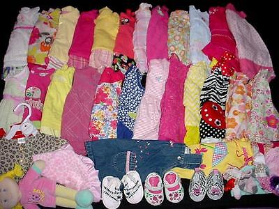 60pc USED BABY GIRL NEWBORN 0-3 3-6 MONTHS SUMMER FALL CLOTHES LOT