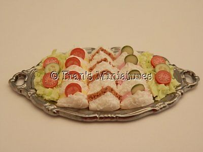 Dolls house food: Silver platter of assorted sandwiches -By Fran
