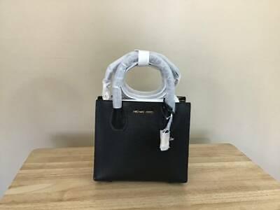 Michael Kors Mercer Medium Pebbled Leather Messenger Bag Black Gold $298 NWT Gold Pebbled Leather