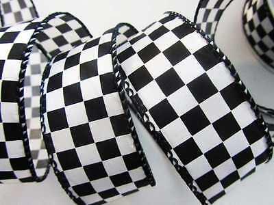 "10 yards Polyester Satin Black/White Checkered 1.5"" Ribbon/Craft Supply/Bow R38"