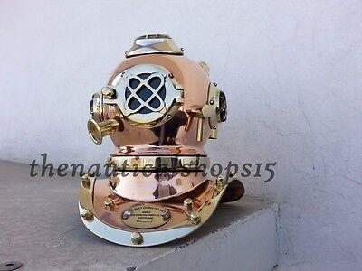 "8"" Solid Brass Copper Antique Diving Divers Helmet Scuba SCA US Navy Mark V"