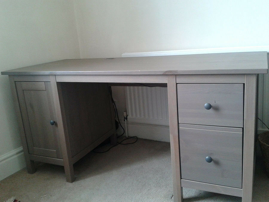 Ikea hemnes desk in grey brown last chance to buy as discontinued