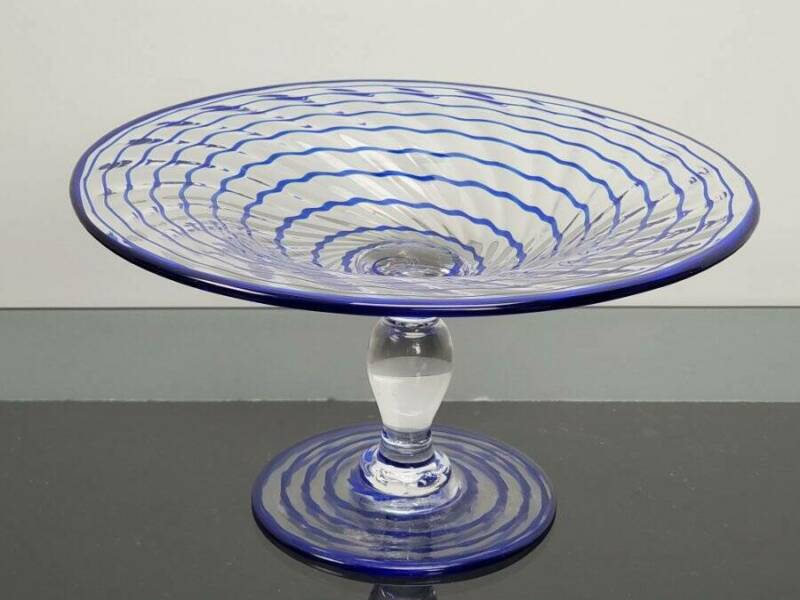 """PAIRPOINT ART GLASS BLUE RIBBON COMPOTE, 4 1/4"""" TALL"""