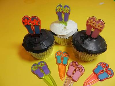 Flip Flop Cupcake - 12 Flip Flop Hawaiian Sandals Cupcake Picks Luau Cake Decorations Party Favors