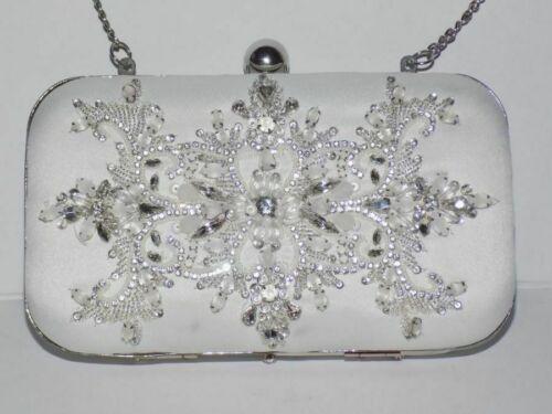 BHLDN ZAKAA White Silver Beaded Bridgette Satin Clutch w/ Chain NEW
