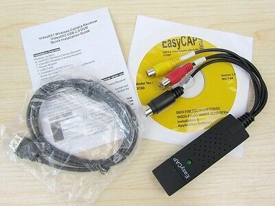 EasyCAP USB 2.0 Audio Adapter Cable Video Grabber Capture & TV Tuner Cards